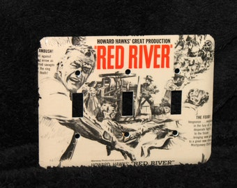 John Wayne Red River Western Howard Hawks Vintage Triple Switch Plate Light Cover Wallplate Cowboy