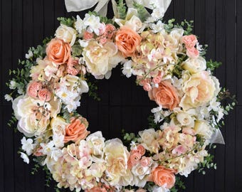 Blush Mixed Floral Wreath, Front Door Decor, Spring Summer Wreath, Wedding Decor