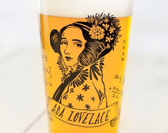 Ada Lovelace Beer Glass | Pint Glass, Mathematics, Programming, Computer Science, Women in STEM, Genius, Gifts for her, Smart Gift