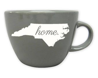 Engraved North Carolina State Mug, Gray Coffee Mug, Home State Mug, Sandblasted Ceramic Mug, 16 oz Coffee Mug