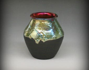 Raku Pot with Iridescent Gold Blue Colors