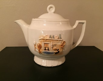 FREE Shipping! Vintage Vitreous Porcelier China Teapot with RAISED Hearth Scene Made in the USA