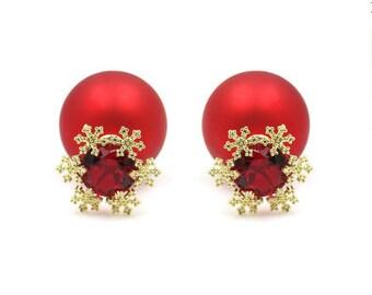 Red festive ball crystal earrings