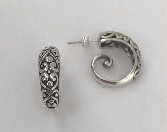 Balinese Hoop Earrings Sterling Silver Bali Jewelry