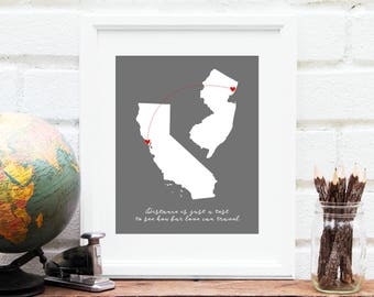 Mothers Day Gift for Grandma, Long Distance Map, Two States Map, Miss You Gift, Mothers Day Gift, Gift for Her, Gift for Mom