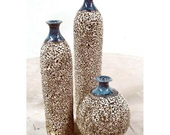 3 Wheel thrown Bottle Vase Vessels Pottery, Modern Metallic Glaze, Handmade ceramic bottles