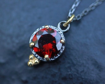 Garnet necklace, layered necklace , january birthstone , sterling silver necklace , oxidized necklace, red, gemstonw necklace