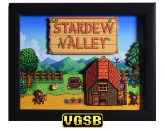Stardew Valley Shadow Box - The Farm - PC -  3D Shadow Box Glass Frame - 12x10 - Christmas Gift - Pixel Artwork