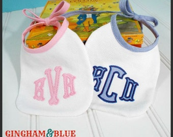Bib - Applique Monogram Heirloom Bib - Handmade - Baptism - Christening