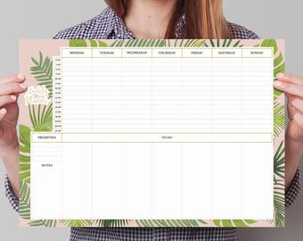 Tropical flower deskpad. Aloha weekly planner. Summer style weekly planner. Exotic planner. a3 desk pad. Weekly desk pad. Big schedule pad