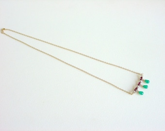 Dainty Gemstone Necklace with Gold / Green / Wine / Gold / Aventurine / Burgundy / Garnet / Crystals / Delicate / Girly / Feminine / Sweet