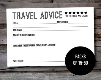 Wedding Advice Cards: Travel Advice