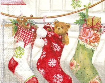 Set of 4 napkins Christmas stockings  for decoupage, decoupage under glass, mixed media, scrapbooking and other art and crafts