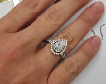 1.50 Carat Diamond Engagement Ring, 14k White Gold Diamond Ring, Side Stones, Pear Diamond Ring ,Big Diamond Ring, Free Shipping