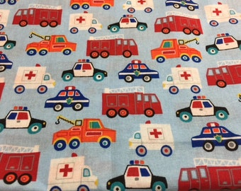 Children's Transportation Fabric | Primary Colors | Emergency Vehicles |
