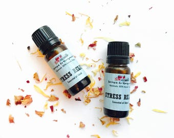 Stress Relief essential oil blend, 100% natural. Vegan.
