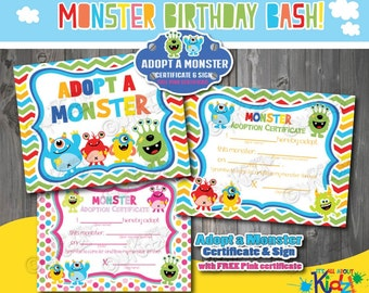 Instant Download Adopt a Monster Certificate and Sign-Blue-Monster birthday game-Monster party decoration-Monster Birthday Printables