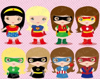 Supergirl Clipart , Cute Digital Clipart ,  Girls SuperHero clip art for Scrapbooking, and Invitations / INSTANT DOWNLOAD  (S016)