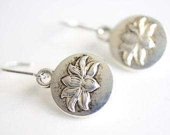 Lotus Earrings, Silver Lotus Earrings, Flower Dangle Earrings