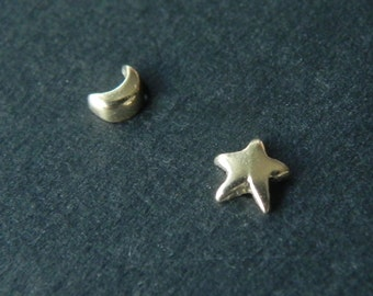 So tiny star and crescent moon stud earrings in 14K solid yellow gold - nose studs