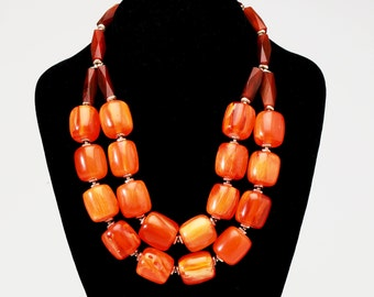Oversized Orange Statement Necklace with Resin and Brass Beads and Silver Clasp