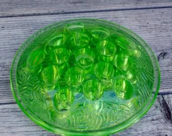 Vaseline Glass Flower Frog 16 Holes Flower Arranging