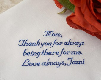Personalized Mother of the Bride Handkerchief Amazing Mother - Wedding Day Keepsake - FREE Gift Box