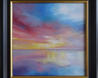 Sunset Oil Painting on Canvas, Feint, 20x20cm