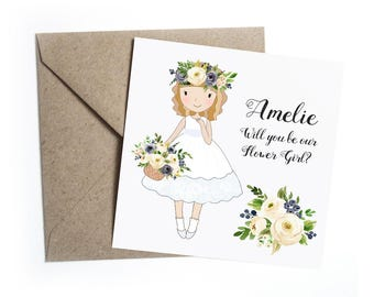 Will You Be My Flower Girl Card - Personalised, Blue Ivory Floral Wedding, Flower Girl, Bridesmaid, Page Boy, Usher, Ring Bearer