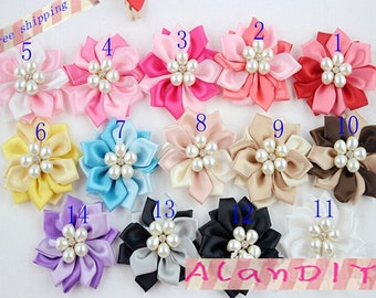 20pcs Wholesale Ribbon flowers with Pearls and Rhinestones DIY Accessory Supplies