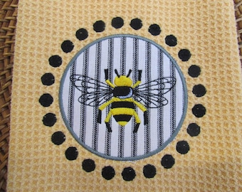 Napoleonic Bee and Circle Dots Applique - (Butter) - Black & White Ticking - Microfiber Waffle Weave Kitchen Towel