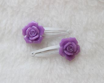 Purple Rose Hair Clips