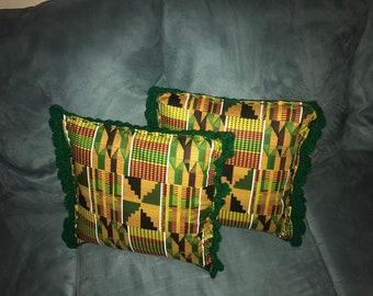 2 Kente cloth accent pillow set