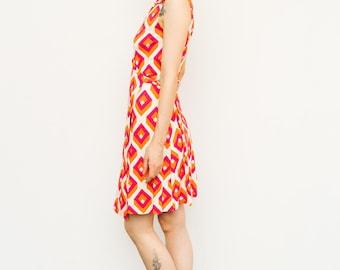 Vintage 1990's DVF Dress Diane Von Furstenberg Silk Geometric Op Art Print Iconic