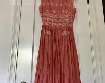 Vintage 50s Red Sheer Linen and Silk Embroidered Summer Dress with Decorative Pockets