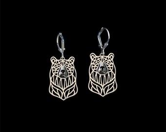 Bear earrings - sterling silver