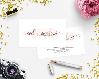 Business Card Designs - 2 Sided Printable Business Card Design - Watercolor 102-17