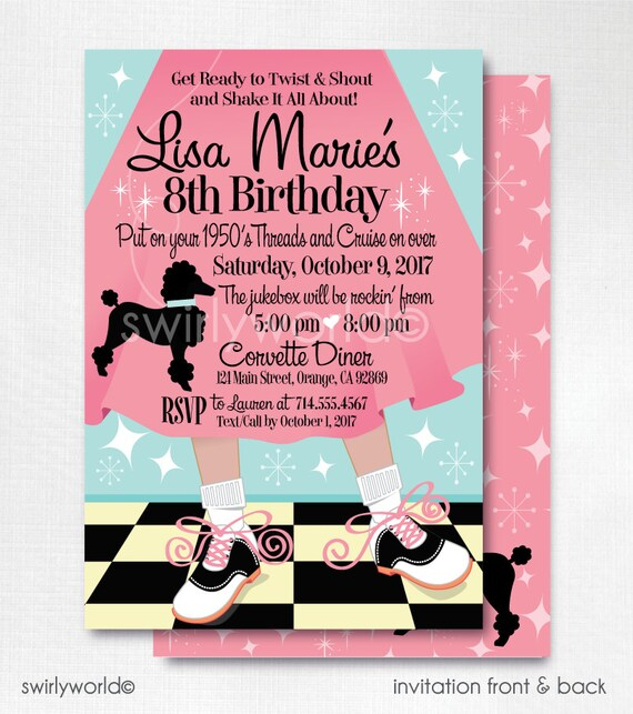 Digital 1950s Birthday Party 50s Theme Invitations Sock Hop