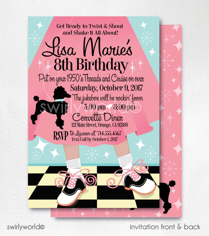 Digital 1950s Birthday Party 50s Theme Invitations Sock Hop
