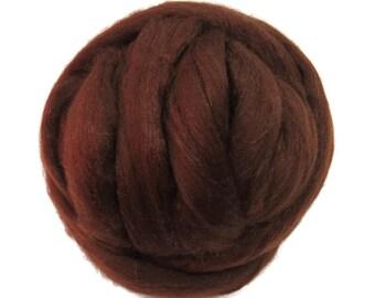 Merino / Silk  Roving, (Bark)