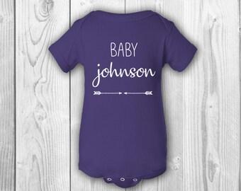 Custom baby onesie etsy custom baby onesie personalized baby gift custom last name onesie baby announcement negle Choice Image
