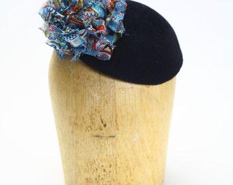 Black Velour Fur Felt Fascinator Cocktail Hat with Multi Colored Silk Chiffon Detail- Millinery/Couture/KateMiddleton/Wedding