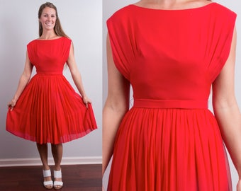 Vintage 1950s Red Chiffon Party Dancing Dress * Pleated Full Skirt * Size x-small – small * Free Shipping
