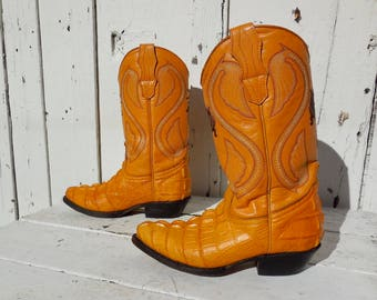 ALLIGATOR Boots/Crocodile Boots/Cowgirl Boots/Reptile/Boys Cowboy Boot/Exotic Cowboy Boots/Rockabilly/Mexican Boots/Womens Size 5.5/Youth 4