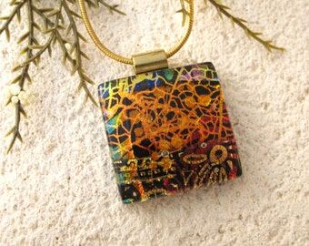 Golden Copper Necklace, Dichroic Pendant, Dichroic Necklace, Dichroic Jewelry, Glass Jewelry, Fused Glass Jewelry, ccvalenzo, 070516p100