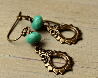 Boho Chic Turquoise and Brass Earrings