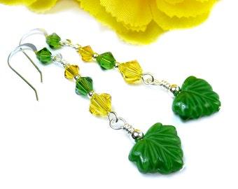 Green Yellow Earrings, Crystal Earrings, Leaf Earrings, Long Boho Earrings, Sparkly Earrings, Nature Inspired Bohemian Jewelry, Long Dangles