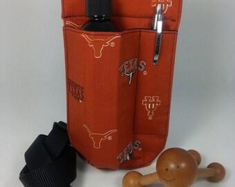 Sale! Massage Therapy Single LEFT hip lotion holster, pen pocket, Texas Longhorn's logo, UT