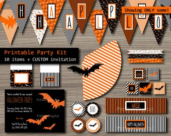 "Halloween Party Package ""Orange Bats"" Halloween Party Kit (10 items + a personalized invitation) DIY Party Printable - INSTANT DOWNLOAD"
