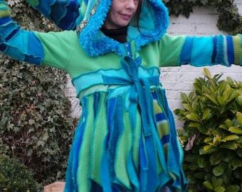 Pixie hood. Elven hooded coat. Upcycled sweatercoat. Hippy clothing. Boho clothing. Wool coat. Recycled sweaters. Patchwork coat. Gypsy coat
